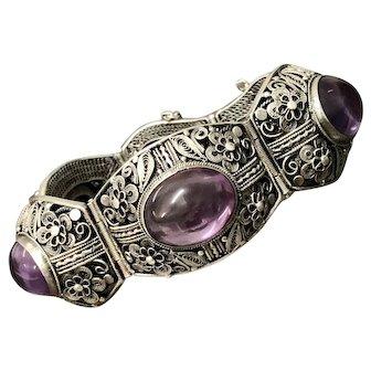Vintage Chinese Filigree Silver Amethyst Bracelet