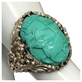 Vintage Chinese Hand Carved Natural Turquoise Deer Crane and Pine Tree with Sterling Silver Adjustable Ring