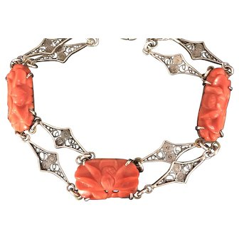 Vintage Chinese Filigree Sterling Silver Carved Natural Salmon Coral Peony Flowers Bracelet