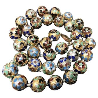 """Vintage Chinese Large Enamel Cloisonne Flowers Hand Knotted Beaded Necklace 24.5"""""""