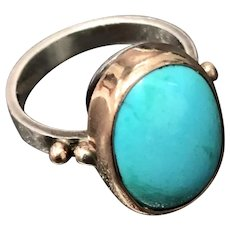Vintage Sleep Beauty Turquoise with 9K Yellow Gold and Sterling Silver Ring Size 6.5
