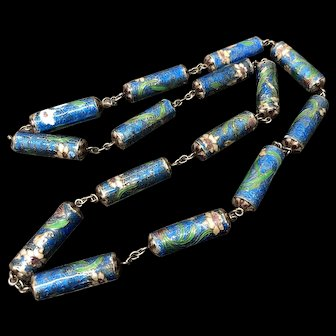 Antique Chinese Sterling Silver Enamel Necklace