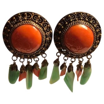 Antique Chinese Hand Carved Salmon Coral Gilt Filigree with Natural Green Jade and Coral Dangle Earrings