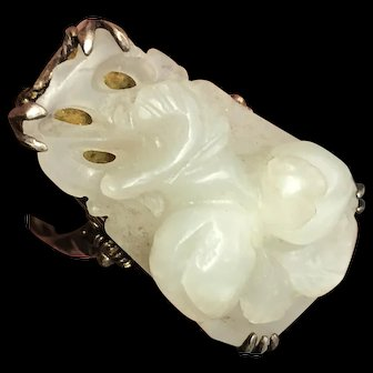 Antique Chinese Gild Silver filigree Hand Carved Double Peaches White Jade Adjustable Ring