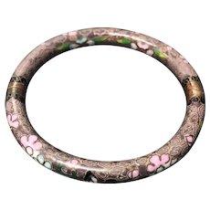 Vintage Chinese Export Cloisonné Enamel Floral Hinged Bangle Bracelet
