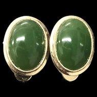Beautiful Gilt Silver Green Jade Earrings