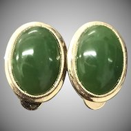 Beautiful Gilt Silver Green Jade Earrings