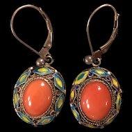 Vintage Natural Red Coral Filigree Enamel Sterling Silver Dangle Earrings