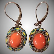 Vintage Natural Red Coral Filigree Enamel Sterling Silver Dangle Earrings
