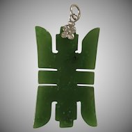 Chinese Carved Green Nephrite Jade Long Life Symbol Pendant