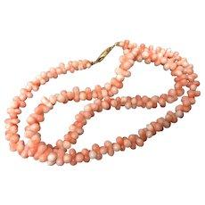 Vintage Angel Skin Coral Dog-bone Beaded Necklace