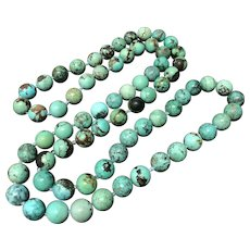"""Vintage Turquoise Beaded Hand Knotted Endless Necklace 35"""""""