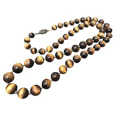 Vintage Chinese Export Tiger Eye Gemstone Beaded Graduated  Necklace Gild Silver Filigree Clasp 30.5""