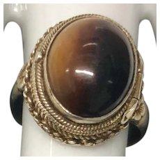 Amazing Chinese Vintage Tiger Eye Gemstone Gild Silver Filigree Poison Box Adjustable Ring