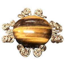 Vintage Natural Tiger Eye Gemstone Customer Made Pin Brooch