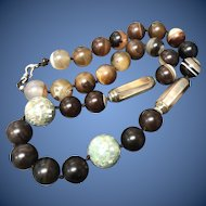Antique Banded Agate with MOP Inlay Beads Hand-Knotted Beaded Necklace