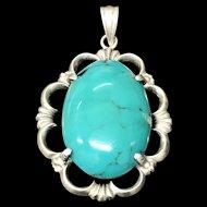 Vintage Large Natural Turquoise Sterling Silver Pendant