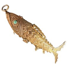 Rare Antique Large Chinese Gild Sterling Silver Filigree Koi Fish with Genuine Turquoise Eyes Perfume Pendant