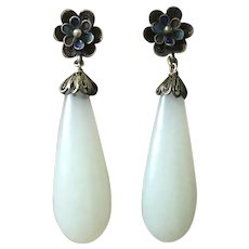 Antique Chinese Export White Jade Gild Silver Filigree Enamel Dangle Earrings