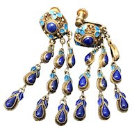 Vintage Chinese Gild Sterling Silver Filigree Enamel Lapis Lazuli Earrings