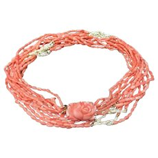 """Vintage Angel Skin Coral and Freshwater Pearls 6 Strand with Hand Carved Rose Coral Clasp Necklace 30"""""""