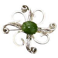 Beautiful Sterling Silver Green Jade Brooch Pin