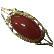 Vintage 18K Red Coral Oval Cabochon Bar Pin Brooch