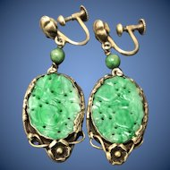 Antique Chinese Hand Carved Apple Green Jade Jadeite Dangling Earrings with Gild Sterling Silver Dragon Setting