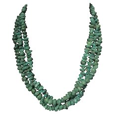 Navajo 3 Strand Natural Turquoise Nugget Necklace