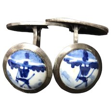Vintage Charming Blue and White Porcelain Sterling Silver Cufflinks