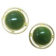 Vintage Charming Round Green Jade Cufflinks