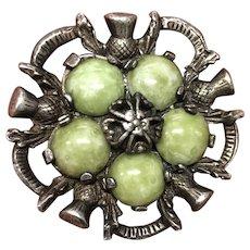 Vintage Scottish Celtic Green Stone (Jasper?) with Thistle Flower Brooch Pin