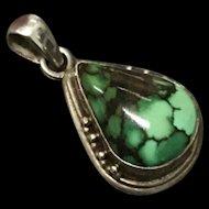 Vintage Sterling Silver Natural Turquoise Tear Drop Shape Pendant