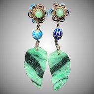 Antique Chinese Gild Sterling Silver Filigree Enamel Jade Jadeite Dangle Earrings