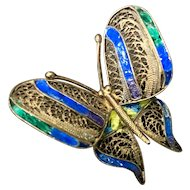 Vintage Chinese Gild Sterling Silver Filigree Enamel Butterfly Pin Brooch