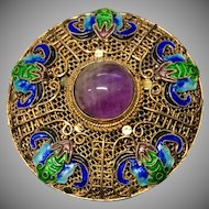 Vintage Chinese Gild Sterling Silver Filigree Enamel Five Bats with Longevity Amethyst  Pin Brooch