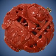 Incredible Antique Qing Dynasty Chinese Hand Hollow Carved Coral Flower Basket  Brooch Pendant 14K Yellow Gold Setting