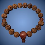 Antique Chinese Hand Carved Peach Nucleus 18 Beads Miniature Figures Prayer Bracelet 13 mm