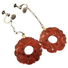 Antique Gild Silver Filigree Chinese Double Side Hand Carved  Orange Red Carnelian Agate  Anadem Drop Earrings