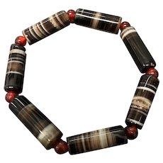 Vintage Banded Agate Beaded Stretch Bracelet