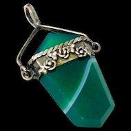 Vintage Carved Green Carnelian Agate Pendant