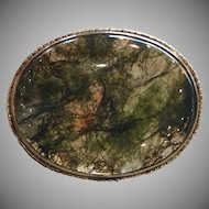 Antique Large England Sterling Silver Moss Agate Brooch