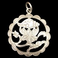 Vintage Sterling Silver Flower and Shell Pendant
