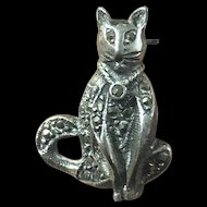 Vintage Sterling Silver Mosaic Cat Pin Brooch