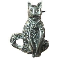 Vintage Sterling Silver Mosaic Cat Pin Brooch