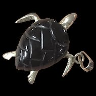 Vintage Hand Carved Black Coral Turtle with Sterling Silver Pendant