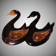 Vintage Natural Amber with Horn Double Swans Pin Brooch