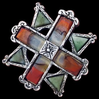 Vintage Scottish Celtic Green and Red Stones Brooch Pin