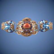 Gorgeous Antique Chinese Gild Silver Filigree Enamel Coral Lapis Lazuli Bracelet