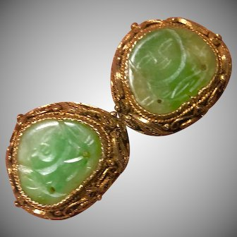 Antique Chinese Gilt Sterling Silver  Filigree with Hand Carved Apple Green Jade/Jadeite Buddha Earrings